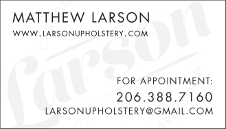 Larson Upholstery Brading - Business Card